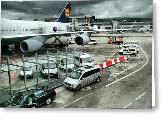 #airport #manchester #plane #car #cloudy Greeting Card