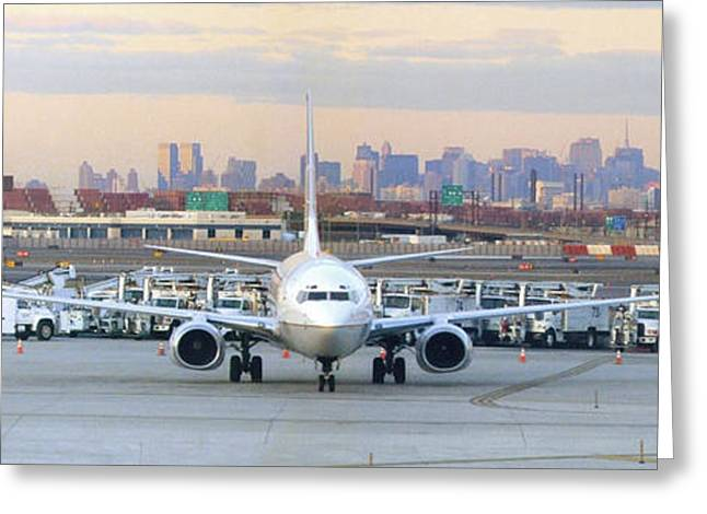 Airport Overlook The Big City Greeting Card by Mike McGlothlen