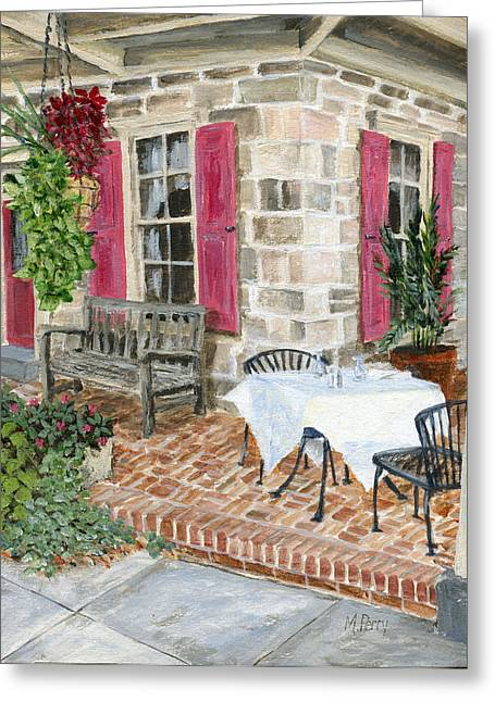 Al Fresco At The Carversville Inn Greeting Card