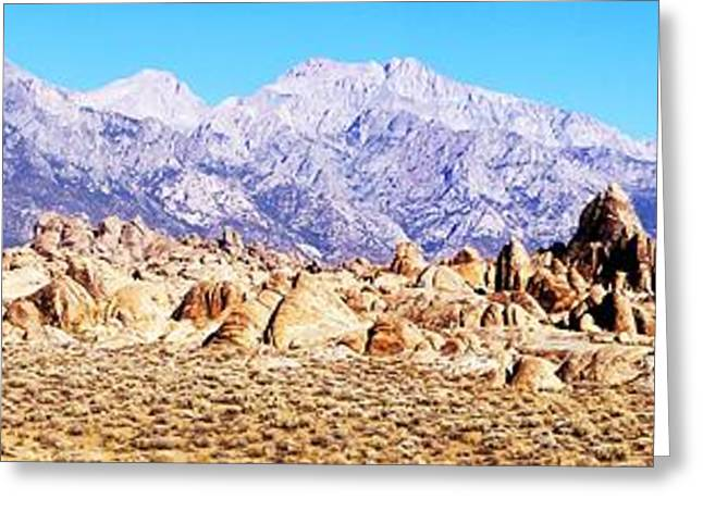 Alabama Hills Panorama Greeting Card by Michael Courtney