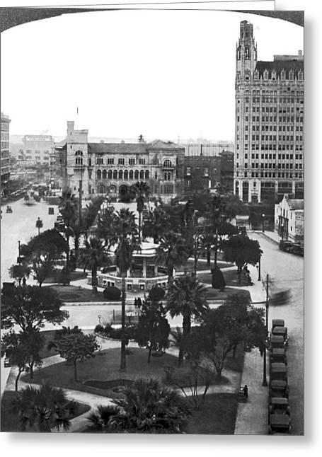 Alamo Plaza In San Antonio Greeting Card by Underwood Archives