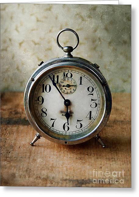 Alarm Clock Greeting Card by Jill Battaglia