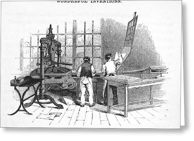 Albion Printing Press Greeting Card by Science, Industry & Business Librarynew York Public Library