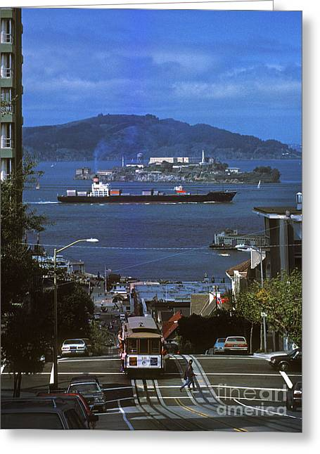 Alcatraz From San Fran Hilltop Greeting Card by Paul W Faust -  Impressions of Light