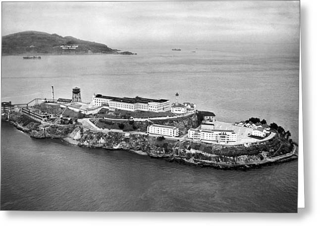 Alcatraz Island And Prison Greeting Card by Underwood Archives