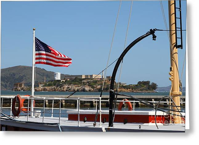 Alcatraz Island Through The Hyde Street Pier In San Francisco California . 7d14163 Greeting Card by Wingsdomain Art and Photography