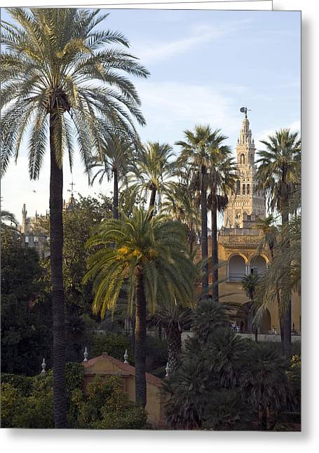 Alcazar Palace Gardens With The Giralda Greeting Card