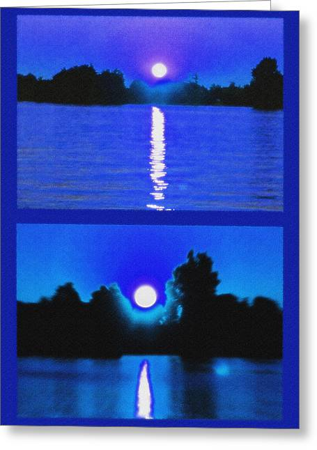 Alexandria Bay Moonrise Diptych Greeting Card by Steve Ohlsen
