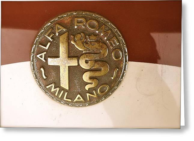 Alfa Romeo Badge Greeting Card by John Colley