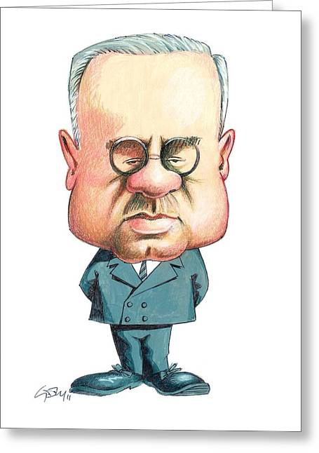 Alfred Adler, Austrian Psychiatrist Greeting Card by Gary Brown