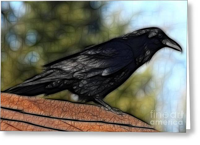 Alfred On The Roof Greeting Card by Marjorie Imbeau