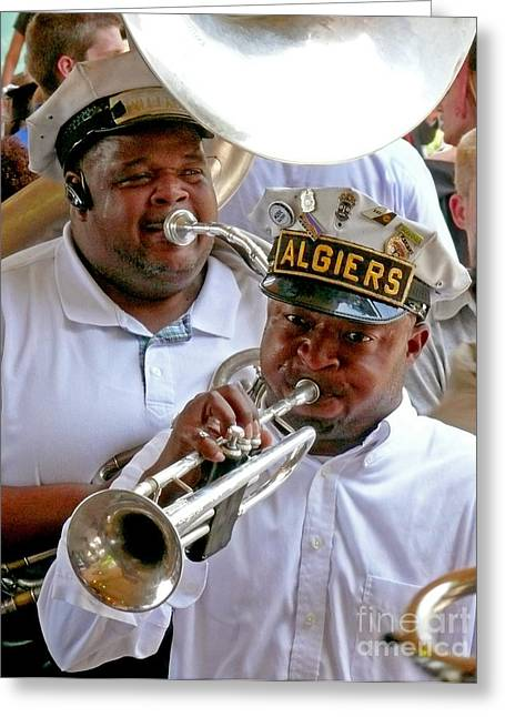 Greeting Card featuring the photograph Algiers Jazz Band by Jeanne  Woods