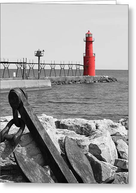 Algoma Lighthouse Is Anchored Greeting Card by Mark J Seefeldt