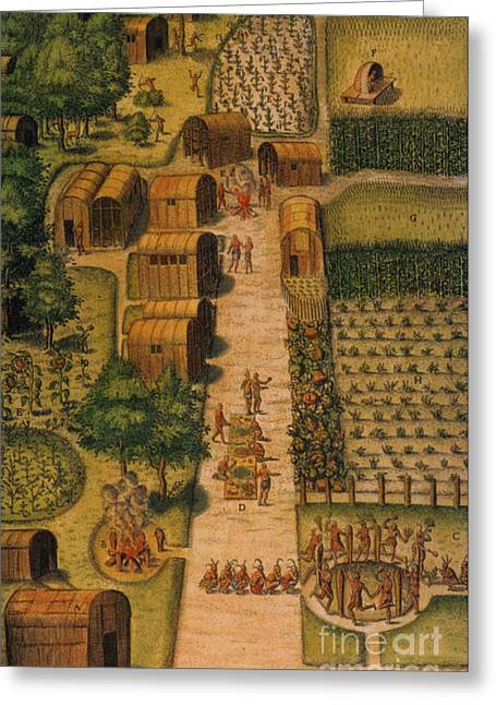 Algonquian Village 1585 Greeting Card by Photo Researchers