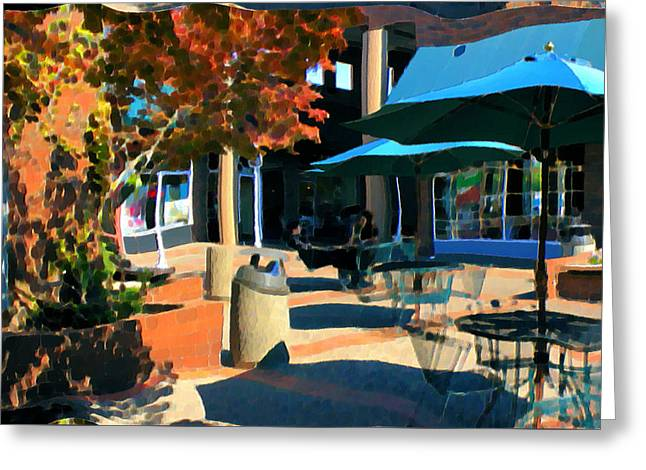 Greeting Card featuring the mixed media Alice's Wonderland Cafe by Terence Morrissey