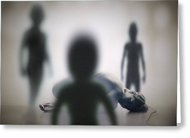 Alien Abduction Greeting Card by Richard Kail