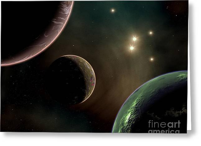 Alien Worlds That Orbit Different Types Greeting Card by Mark Stevenson