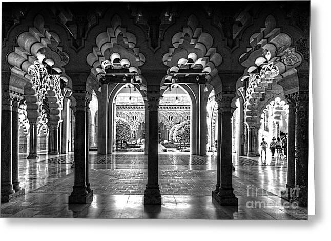Aljaferia Palace I Bw Greeting Card by Jack Torcello