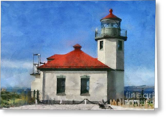 Alki Point Lighthouse In Seattle Washington Greeting Card