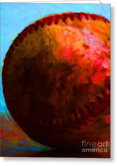 All American Pastime - Baseball Version 3 - Painterly Greeting Card by Wingsdomain Art and Photography