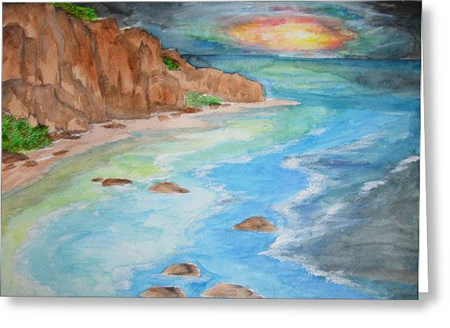 Greeting Card featuring the painting All Is Calm - Wcs by Cheryl Pettigrew