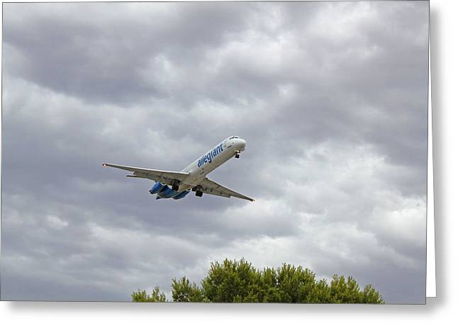 Allegiant Airline Flight On Final Approach Into Las Vegas Nv Greeting Card