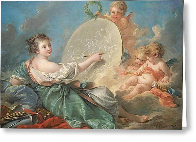 Allegory Of Painting Greeting Card by Francois Boucher