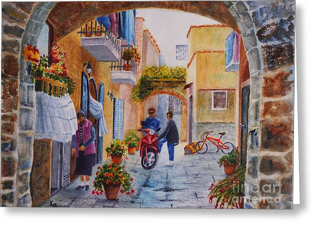 Greeting Card featuring the painting Alley Chat by Karen Fleschler