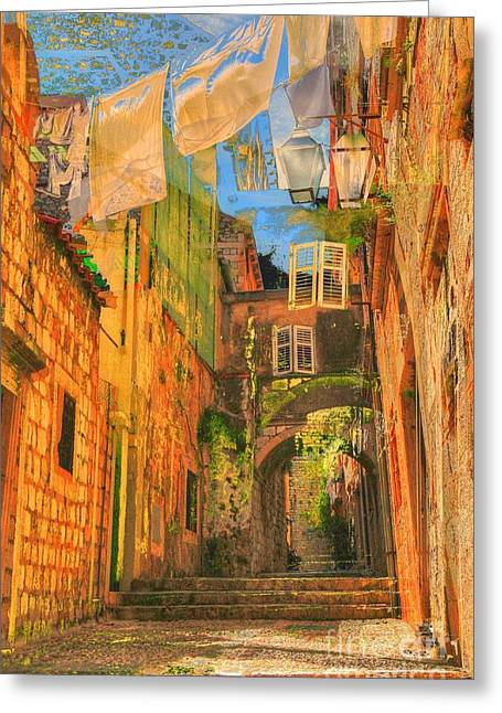 Alley In Croatia Greeting Card by Alberta Brown Buller