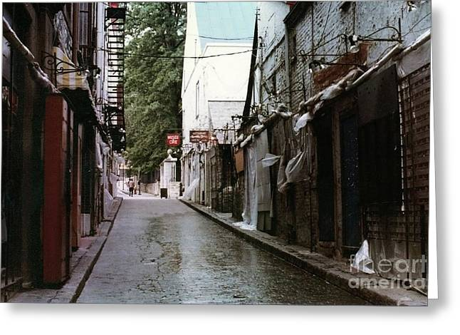 Alley In Old Quebec Greeting Card by Cedric Hampton