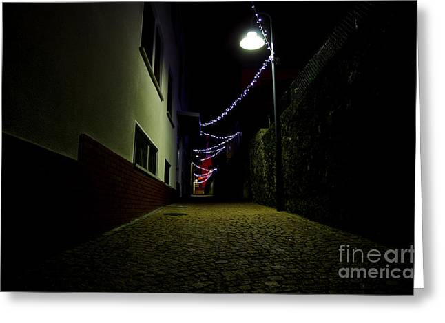 Alley With Lights Greeting Card