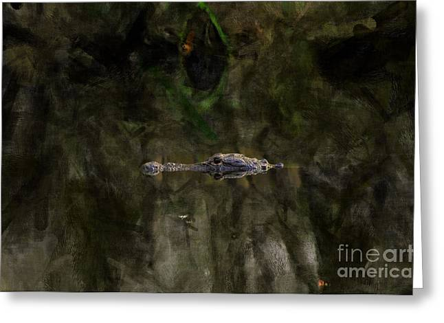 Greeting Card featuring the photograph Alligator In Swamp by Dan Friend
