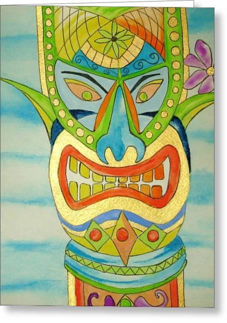 Greeting Card featuring the painting Aloha Tiki by Erika Swartzkopf