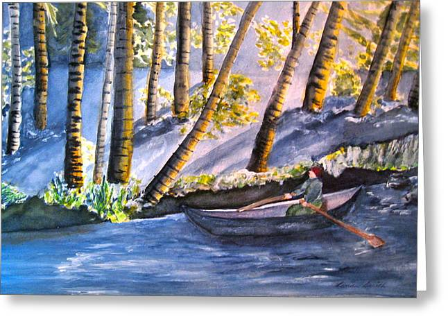 Alone On The River Greeting Card