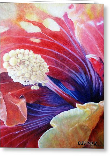 Al's Hibiscus Greeting Card by Debra Spinks