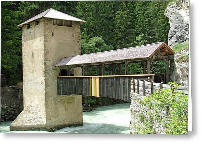 Altfinstermunz Bridge Nauders Switzerland Greeting Card by Joseph Hendrix