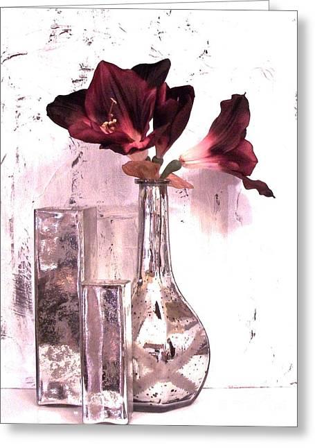 Amaryllis And Mercury Glass Vases Greeting Card by Marsha Heiken