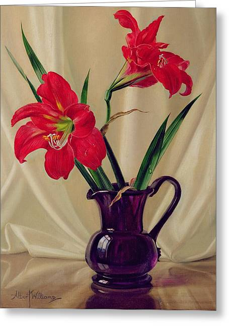 Amaryllis Lillies In A Dark Glass Jug Greeting Card
