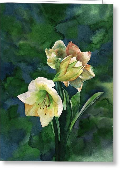 Greeting Card featuring the painting Amaryllis by Sharon Mick