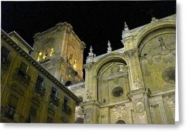 Amazing Exterior Architecture Of Cathedral At Night Granada Spain Greeting Card