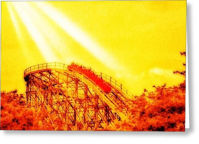 #amazing Shot Of A #rollercoaster At Greeting Card by Pete Michaud