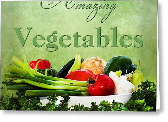 Amazing Vegetables Greeting Card by Trudy Wilkerson