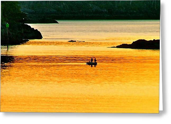 Amber Angling Greeting Card by Brent Sisson