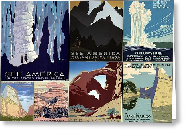 America The Beautiful Vintage Posters Collage Greeting Card