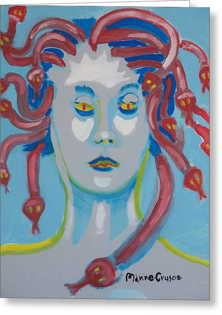 Americaine Medusa Greeting Card by Jay Manne-Crusoe