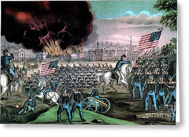 American Civil War, Capture Of Atlanta Greeting Card by Photo Researchers