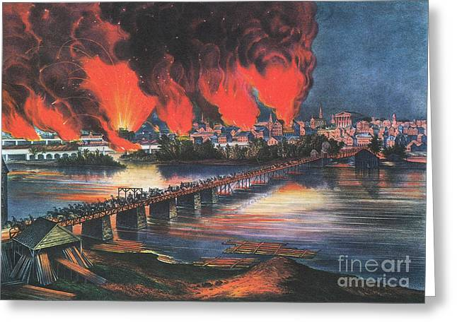 American Civil War Fall Of Richmond Greeting Card by Photo Researchers