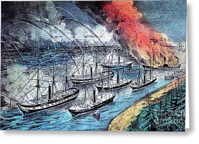American Civil War, Farraguts Fleet Greeting Card by Photo Researchers