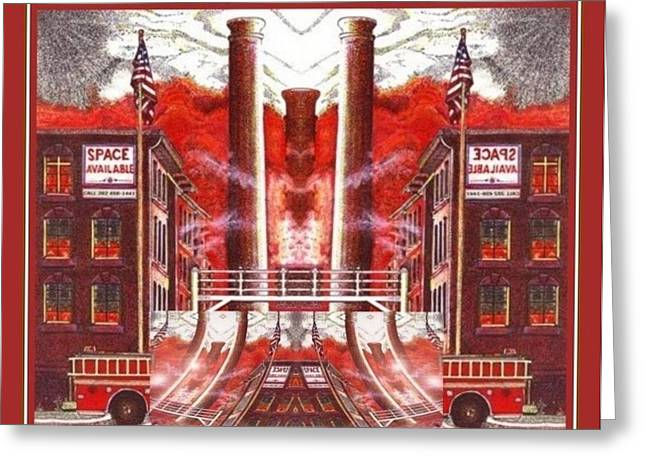 Greeting Card featuring the painting American Dream Burning Away by Ray Tapajna