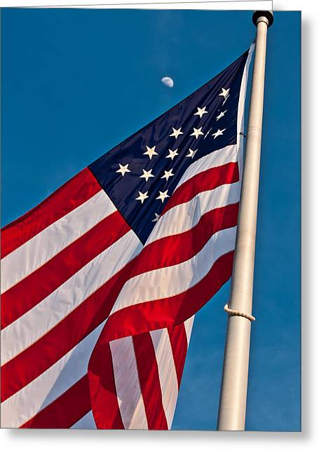 American Flag And The Moon Greeting Card by Evelyn Peyton